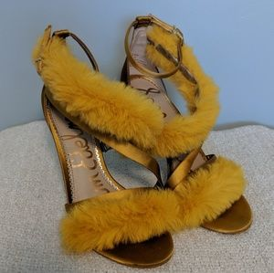 Sam Edelman Shoes - 🆕 Sam Edelman Yellow Adelle Satin/Fur Stilletos